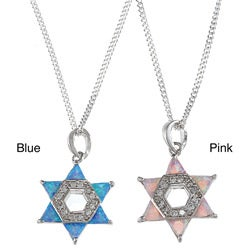 Sterling Silver Blue/ Pink Opal and CZ 'Star of David' Necklace
