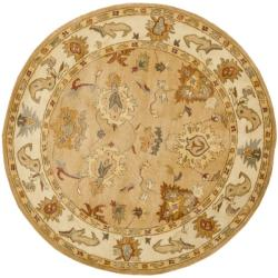 Safavieh Handmade Zeigler Taupe/ Ivory Hand-spun Wool Rug (4' Round)