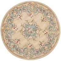 Safavieh Handmade Ivory/ Light Blue Hand-spun Wool Rug - 4' x 4' Round
