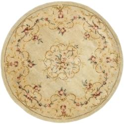 Safavieh Handmade Light Green/ Beige Hand-spun Wool Rug (4' Round)