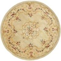 Safavieh Handmade Light Green/ Beige Hand-spun Wool Rug (4' Round) - 4' Round