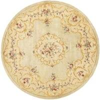 Safavieh Handmade Light Green/ Beige Hand-spun Wool Rug (6' Round)