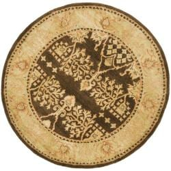 Safavieh Handmade Tree Brown/ Light Green Hand-spun Wool Rug (4' Round)