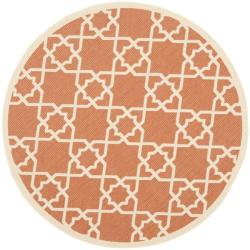 Safavieh Courtyard Geometric Trellis Terracotta/ Beige Indoor/ Outdoor Rug (5'3 Round)