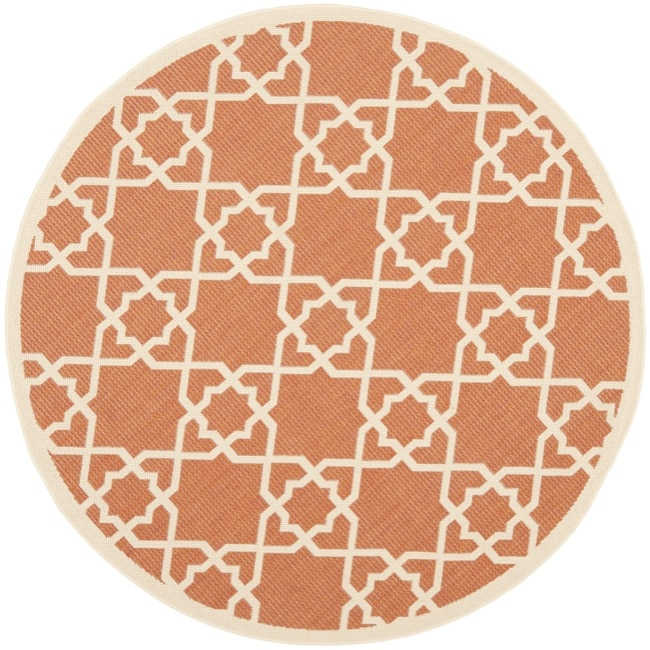 Safavieh Courtyard Geometric Trellis Terracotta/ Beige Indoor/ Outdoor Rug (6'7 Round) - Thumbnail 0