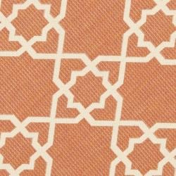 Safavieh Courtyard Geometric Trellis Terracotta/ Beige Indoor/ Outdoor Rug (6'7 Round) - Thumbnail 2