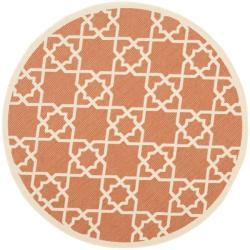 "Safavieh Courtyard Geometric Trellis Terracotta/ Beige Indoor/ Outdoor Rug - 6'7"" x 6'7"" round - Thumbnail 0"