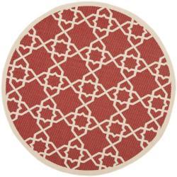 Safavieh Courtyard Geometric Trellis Red/ Beige Indoor/ Outdoor Rug (5'3 Round)