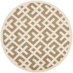 Safavieh Courtyard Contemporary Brown/ Bone Indoor/ Outdoor Rug (5'3 Round)