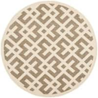 "Safavieh Courtyard Contemporary Brown/ Bone Indoor/ Outdoor Rug - 5'3"" x 5'3"" round"