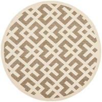 """Safavieh Courtyard Contemporary Brown/ Bone Indoor/ Outdoor Rug - 6'7"""" x 6'7"""" round"""