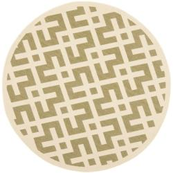 Safavieh Courtyard Contemporary Green/ Bone Indoor/ Outdoor Rug (5'3 Round)