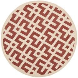 """Safavieh Courtyard Contemporary Red/ Bone Indoor/ Outdoor Rug (6'7"""" Round)"""