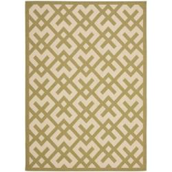Safavieh Poolside Beige/ Green Indoor Outdoor Rug (5'3 x 7'7)