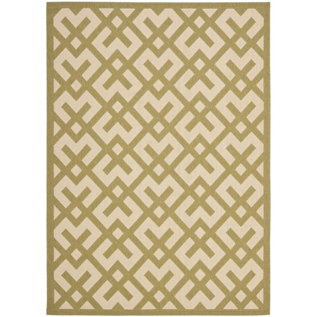 Safavieh Courtyard Contemporary Beige/ Green Indoor/ Outdoor Rug (8' x 11'2) - Thumbnail 0