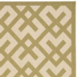 Safavieh Courtyard Contemporary Beige/ Green Indoor/ Outdoor Rug (8' x 11'2) - Thumbnail 1