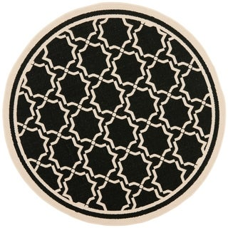"Safavieh Courtyard Poolside Black/ Beige Indoor/ Outdoor Rug - 6'7"" x 6'7"" round"