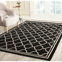 "Safavieh Poolside Black/ Beige Indoor Outdoor Rug - 6'7"" x 9'6"""