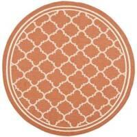 "Safavieh Poolside Terracotta/ Bone Indoor Outdoor Rug - 6'7"" x 6'7"" round"