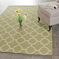 Safavieh Poolside Green/ Beige Indoor Outdoor Rug - 6'7 x 9'6