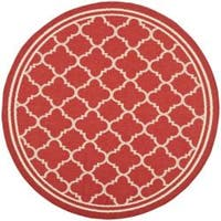 "Safavieh Traditional Poolside Red/Bone Indoor/Outdoor Rug - 5'3"" x 5'3"" round"
