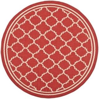 Safavieh Poolside Red/ Bone Indoor Outdoor Rug (6'7 Round)