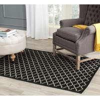 Safavieh Poolside Black/Beige Indoor/Outdoor Area Rug - 4' x 5'7
