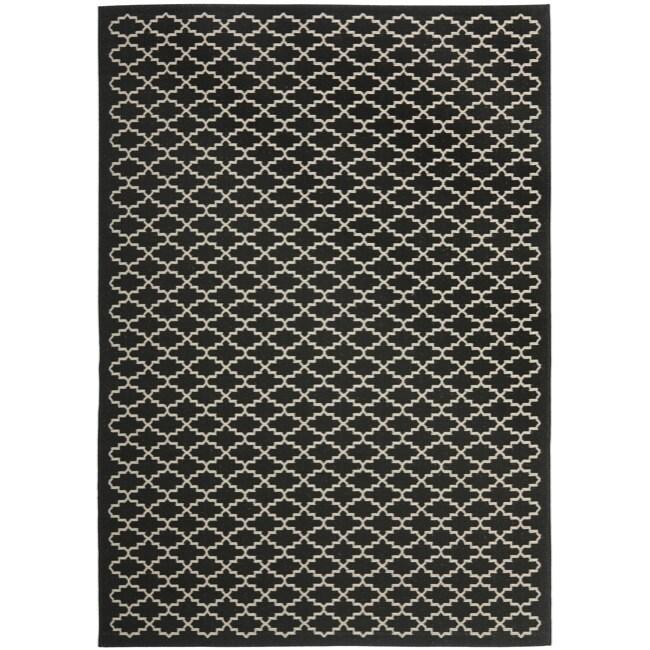 "Safavieh Geometric-Print Poolside Black/Beige Indoor-Outdoor Rug (6'7"" x 9'6"")"