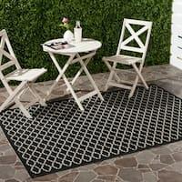 Safavieh Geometric-Print Poolside Black/Beige Indoor-Outdoor Rug - 6'7' x 9'6'