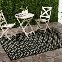 Safavieh Poolside Black/Beige Indoor/Outdoor Polypropylene Rug - 8' X 11'