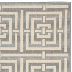 Safavieh Poolside Grey/ Cream Indoor Outdoor Rug (6'7 x 9'6)