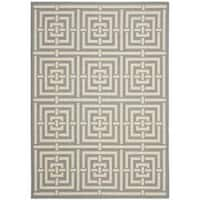 Safavieh Poolside Grey/ Cream Indoor Outdoor Rug - 8' x 11'2