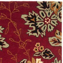 Safavieh Handmade Botanical Gardens Red Wool Rug (4' x 6') - Thumbnail 1