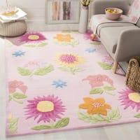 Safavieh Handmade Children's Paisley Pink New Zealand Wool Rug - 7' x 7' Square