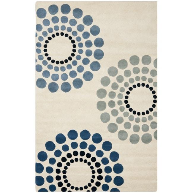 Safavieh Handmade Soho Celeste Ivory New Zealand Wool Rug - 7'6 x 9'6