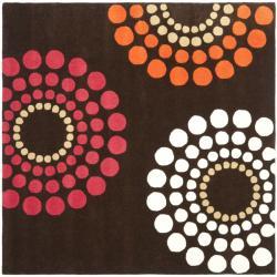 Safavieh Handmade Soho Celeste Brown New Zealand Wool Rug (6' Square)