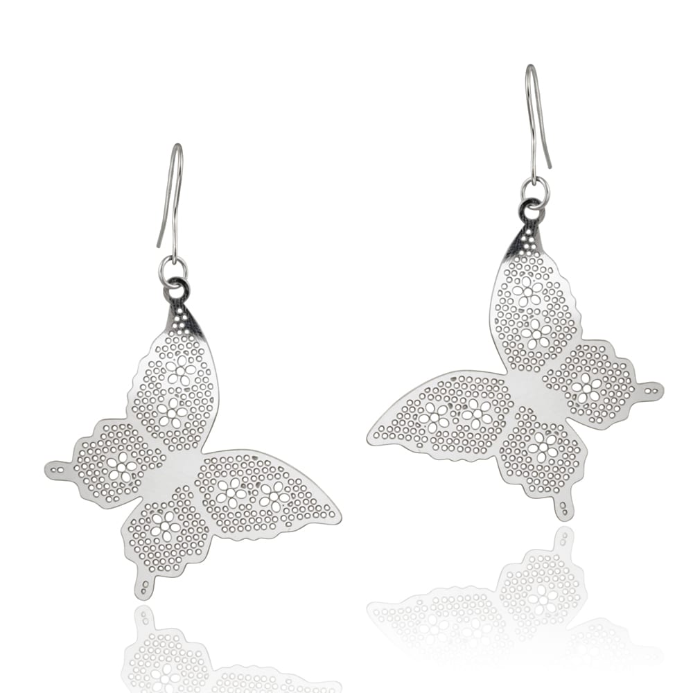 Mondevio Stainless Steel Cut Out Designed Butterfly Earrings