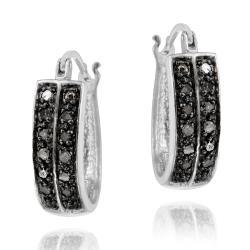 DB Designs Sterling Silver 1/4ct TDW Two Row Black Diamond Hoop Earrings