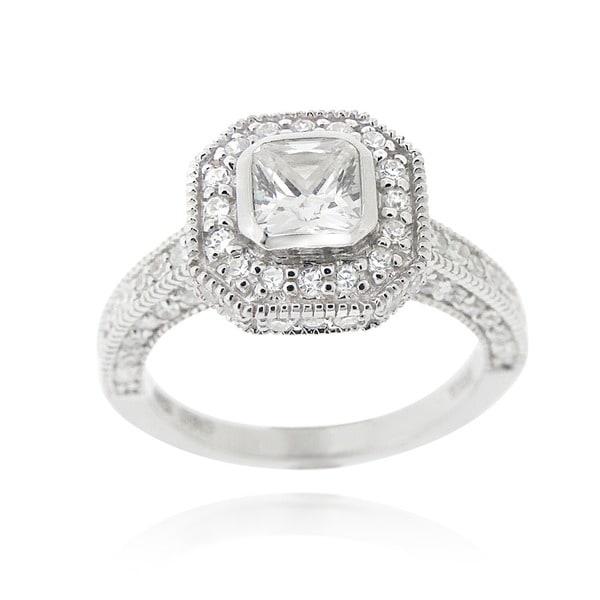 Icz Stonez Silvertone CZ Engagement Ring