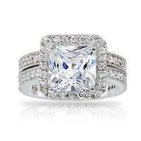 ICZ Stonez Silvertone Cubic Zirconia Bridal Ring Set
