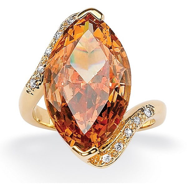 8.04 TCW Marquise-Cut Champagne-Color Cubic Zirconia Cocktail Ring 18k Gold-Plated Color F