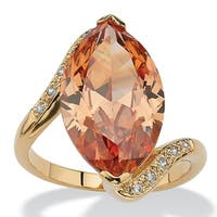 18K Yellow Gold-plated Champagne Cubic Zirconia Ring - White
