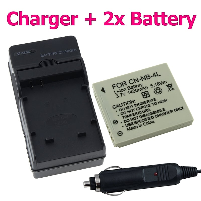 INSTEN Two Batteries/ Charger for Canon NB-4L Powershot