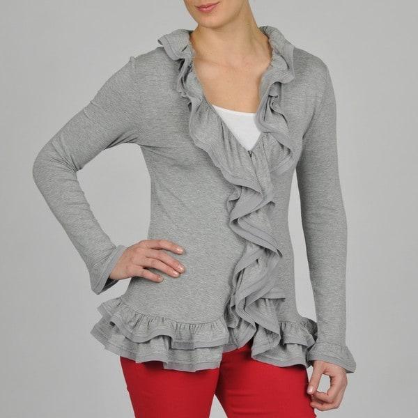 Grace Elements Grey Ruffle Trim Shirt