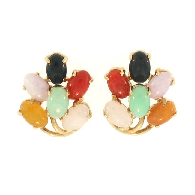 Mason Kay Natural Multi-color Jadeite Jade Leaf Earrings