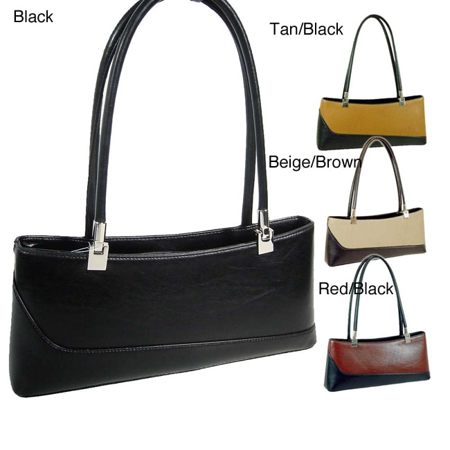 Dasein Color Block Faux Leather Shoulder Bag