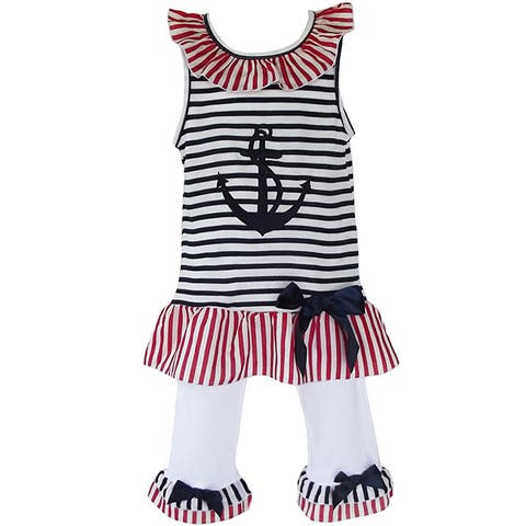 AnnLoren Girls Patriotic Sailor Tunic Capri Legging Outfit Set