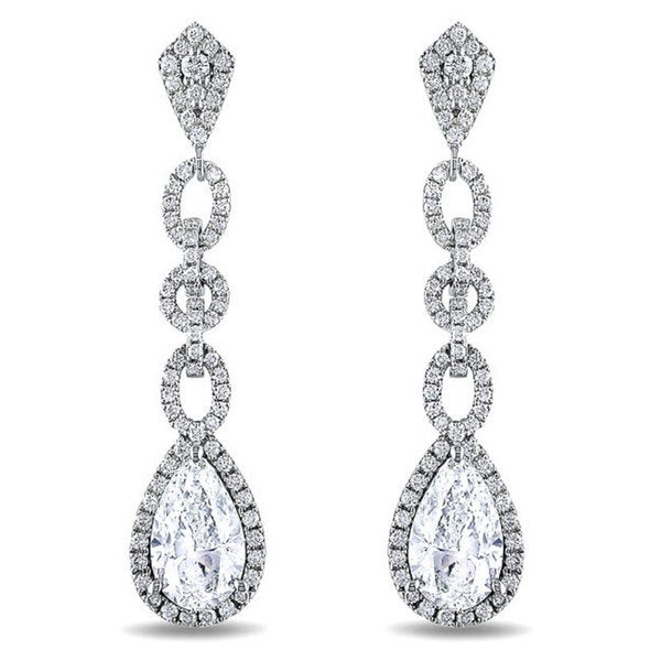 Miadora Signature Collection 14k Gold 5ct TDW Pear Cut Diamond Earrings(G-H, SI1-SI2)