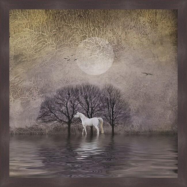 Dawne Polis 'White Horse in Pond' Framed Print