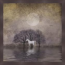 Dawne Polis 'White Horse in Pond' Framed Print - Thumbnail 0